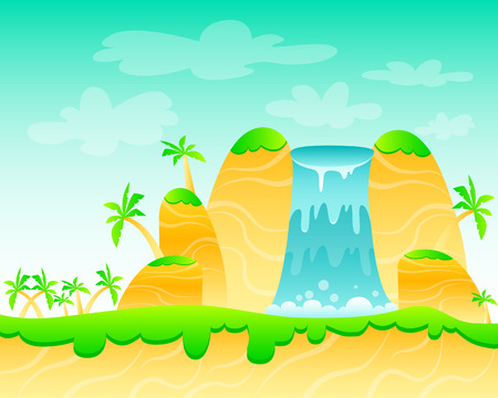 cascade mountains: Waterfall and palm trees. Game Design. illustration