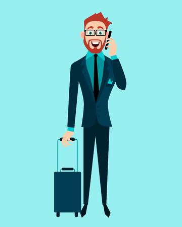 before: Elegant businessman talking on mobile phone before the travel. illustration Illustration