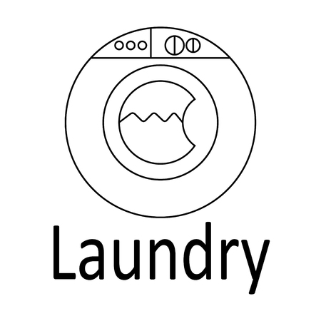 laundry line: Modern logo Laundry. Thin black line. Vector illustration