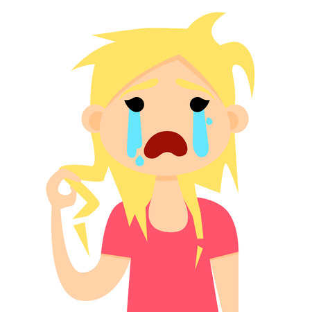 her: Girl holding her damaged hair and crying. Vector illustration Illustration
