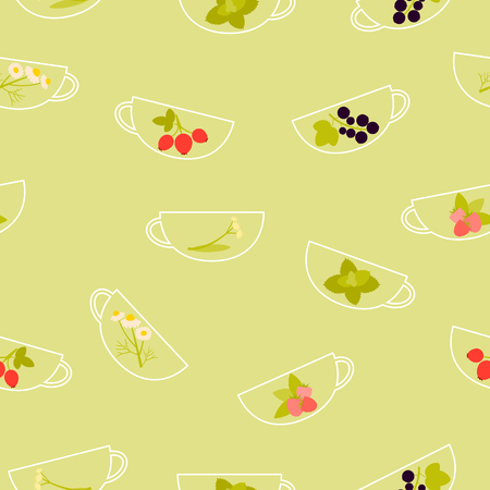 currant: Background herbal tea. A cup with raspberry, chamomile, mint, linden, currant and rosehip. Vector illustration Illustration