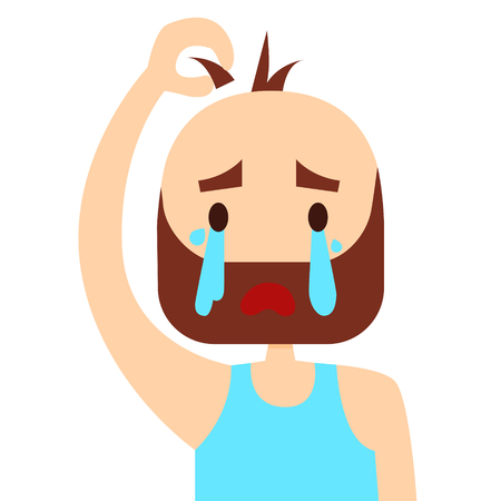 middle aged: Sad middle aged man loses his hair. Vector illustration