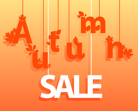 Autumn sale. Template with orange leaf.