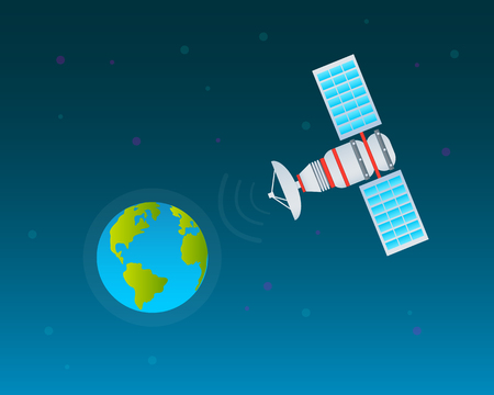 space antenna: Planet and space satellite on a blue background. Illustration
