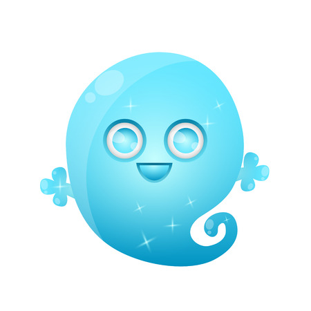 Cute ghost isolated on a white background. Game Design. illustration