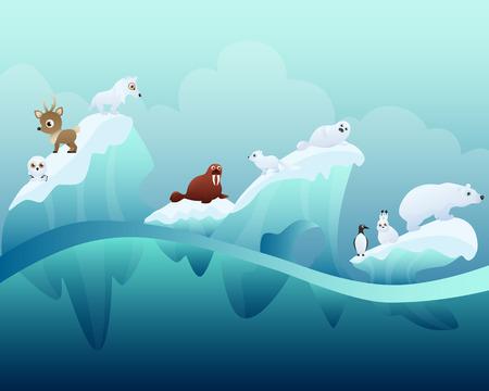 arctic landscape: Arctic winter landscape with animals
