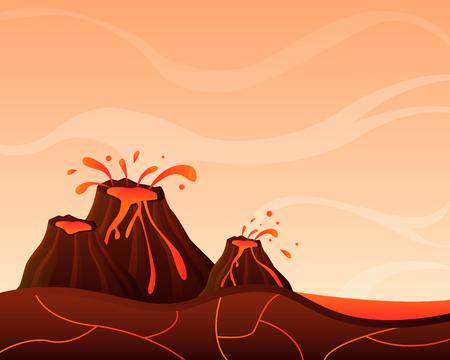 Landscape with volcano. Game Design. Vector illustration Illustration
