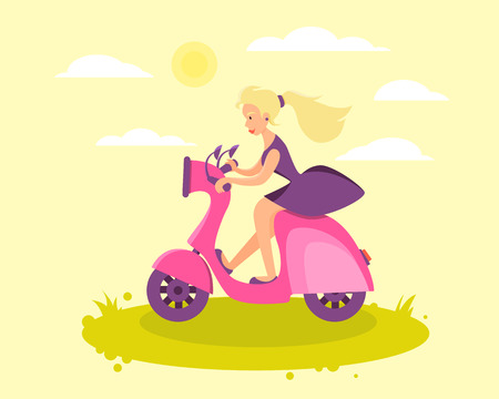 Girl in dress riding a pink scooter. Vector illustration