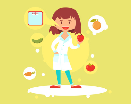 Cute woman nutritionist talks about the effects of proper nutrition. Vector illustration