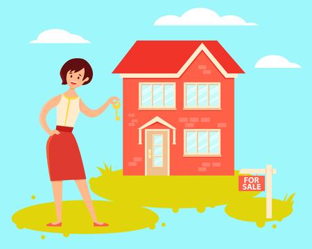 Woman realtor holding house key. Vector illustration
