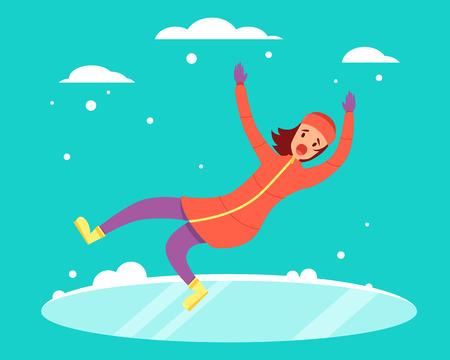 Vrouw gleed uit over de besneeuwde gladde weg. vector illustratie Stock Illustratie
