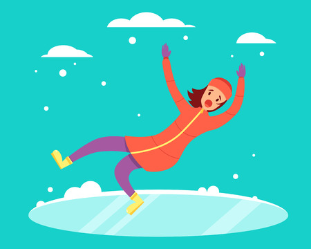 Woman slipped on the snowy slippery road. Vector illustration