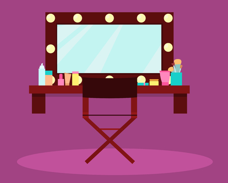 actress: Interior dressing room actress or singer Illustration
