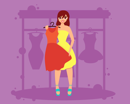chooses: Woman chooses a dress in a shop for a party or a date.