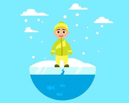 child walking: Child walking on ice. Flat design.
