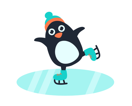 Little cute penguin in hat and skates on the ice rink.