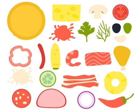 Set ingredients for pizza. Flat design. Vector illustration