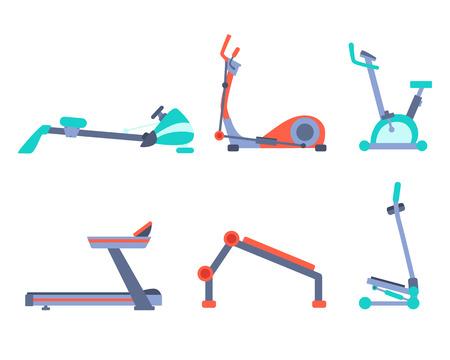 Icons set training equipment isolated on white background. Flat design. Vector illustration