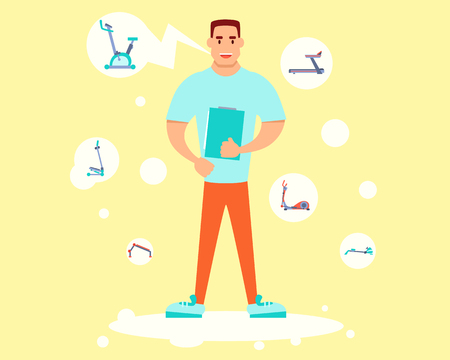tells: Personal trainer holding a training plan and tells about equipment. Flat design. Illustration
