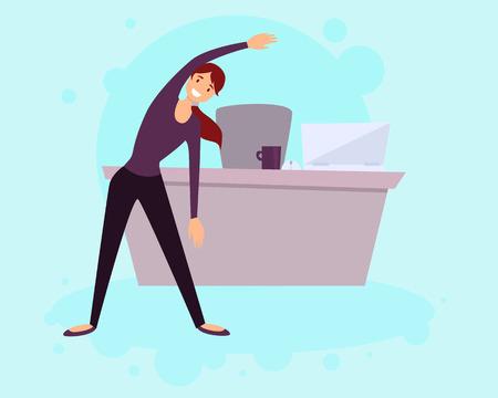 Een gezonde levensstijl in het kantoor. Vrouw doet oefeningen. Vector illustratie Stock Illustratie