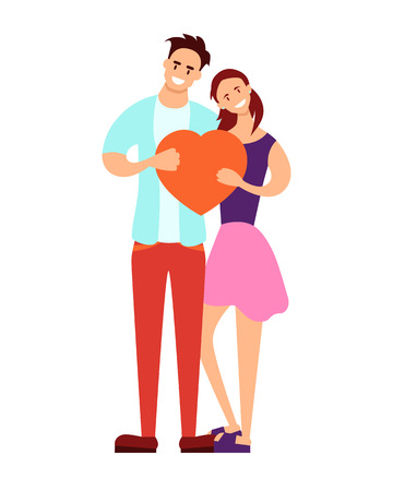 Young couple holding a red heart on a white background. Vector illustration Illustration