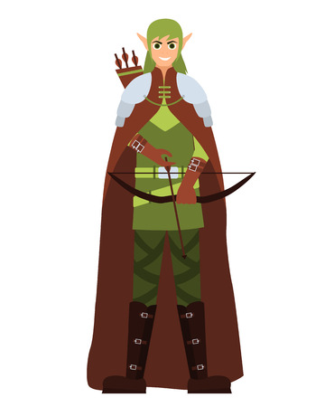 Male elf with a bow and arrow. Flat design. Vector illustration Illustration