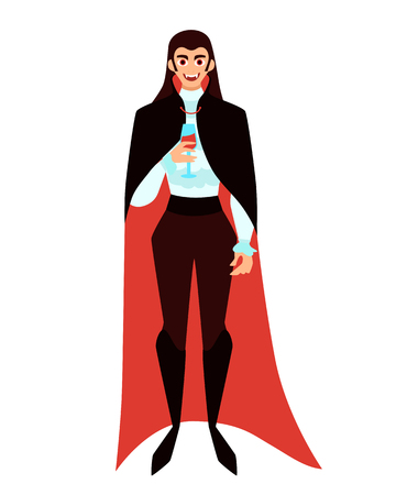 Male vampire with a glass of wine on a white background. Vector illustration