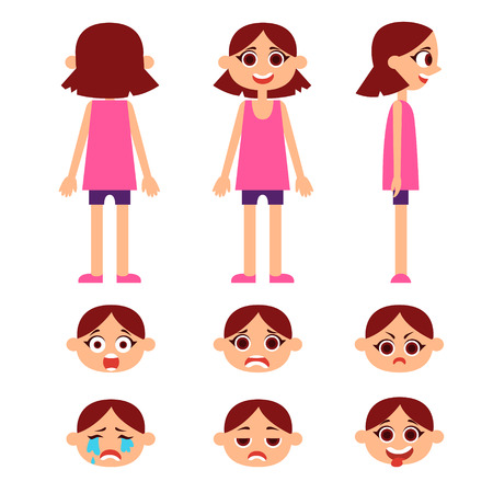 rear view: Set of little girl with different emotions. Front, rear and side views. Vector illustration Illustration