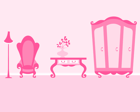 Pink Room of the Little Princess. Interior with wardrobe, armchair and table. Vector illustration