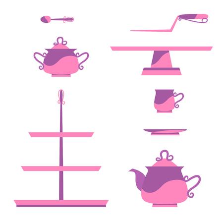 Set for a little princess vintage tea service. Vector illustration