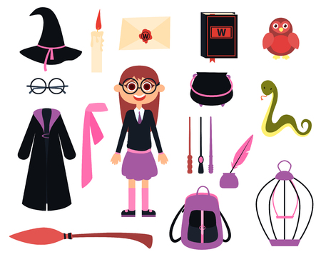 Little girl wizard in school uniform and icon set. Vector illustration