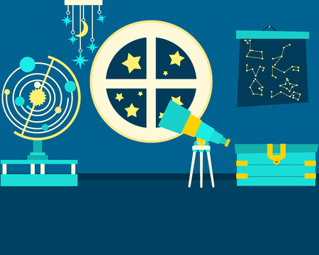 observation: The Magic Room of Astronomy. Fantasy interior. Vector illustration Illustration