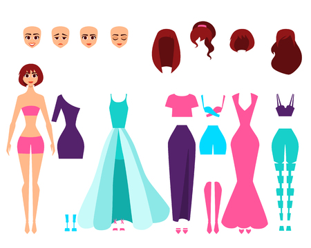 Singer or actress set of character creation. Vector illustration