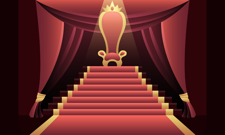Interior of the castle with a throne and a red carpet. Vector illustration