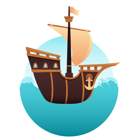 floating: Wooden old ship sailing in the ocean waves. Vector illustration Illustration