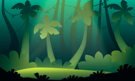 Green landscape of the jungle. Glade with palm trees. Game level