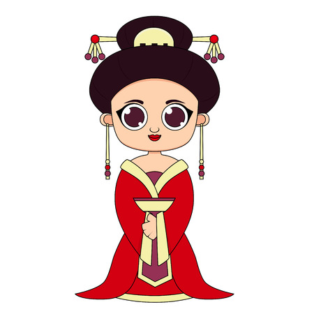 Woman in traditional Chinese clothes. Flat design. Vector illustration