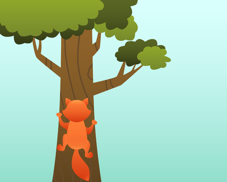 A red cat climbs a tree. Vector illustration Vectores