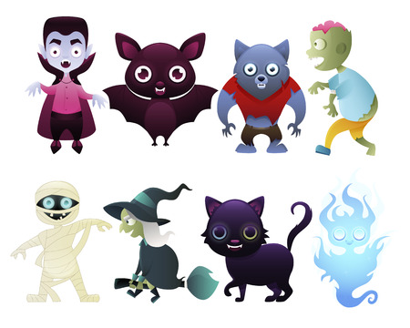 Set of monsters isolated on white background. Vector illustration Vettoriali