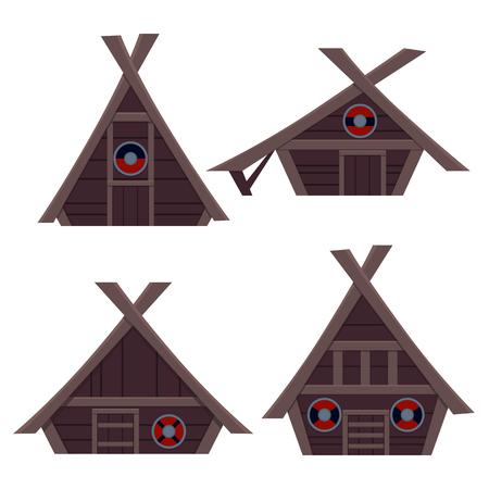 Set Viking House. Flat design. Vector illustration 일러스트