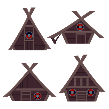Set Viking House. Flat design. Vector illustration Ilustrace