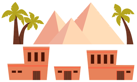 Conjunto del antiguo Egipto. Diseño plano. Ilustración vectorial