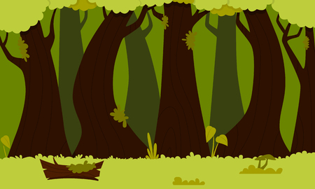 Background green forest. Flat design. Vector illustration Stock Photo