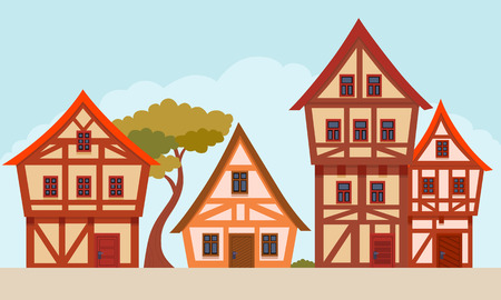 The street of a small German town. Flat design. Vector illustration