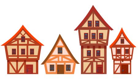 Conjunto de casas Alemania. Diseño plano. Ilustración vectorial Foto de archivo - 95877968