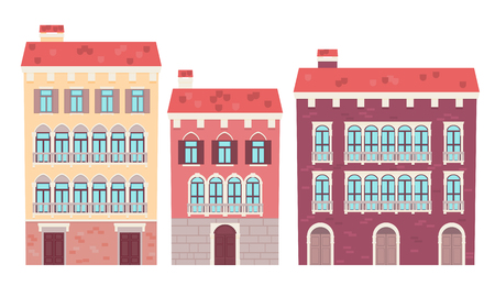 Set of houses Venice. Flat design vector illustration  イラスト・ベクター素材