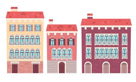 Set of houses Venice. Flat design vector illustration 일러스트