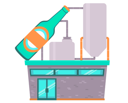 Beer factory isolated on white background. Flat design. Vector illustration