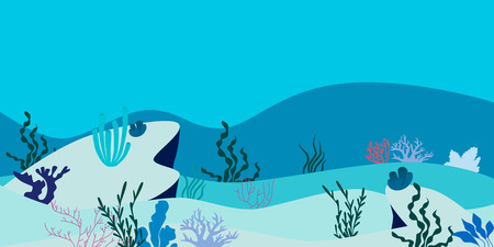 Ocean Underwater Background. Flat design. Vector illustration
