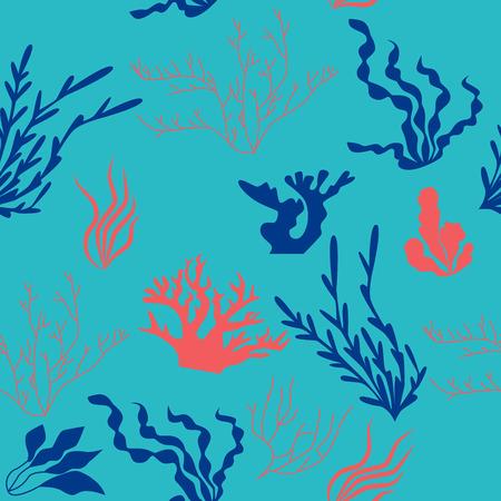 Seamless pattern flora of the oceans. Flat design. Vector illustration